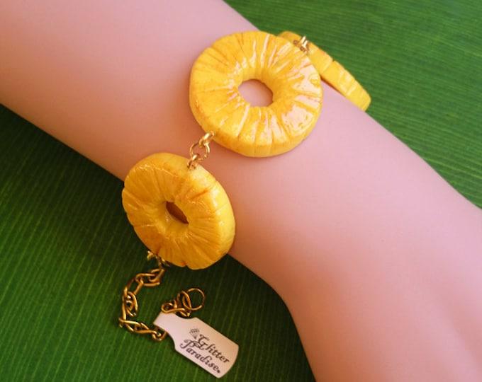 Fakelite Pineapple Slices - Bracelet - Pineapple - Hawaii - Tropical Jewelry - Fruit - Piña colada - Pineapple Bracelet - Glitter Paradise®