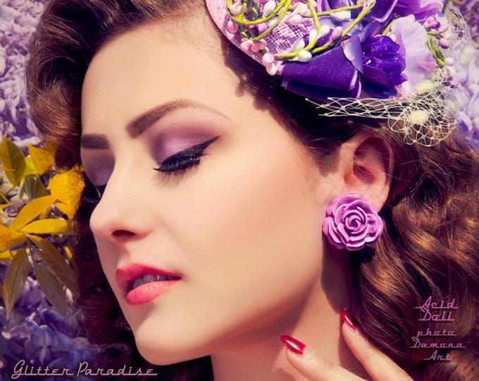 Vintage Rose Purple - Earrings - Roses - Flowers - Nature - Rose Earrings - Retro - Roses Earrings - Romantic - Floral - Glitter Paradise®