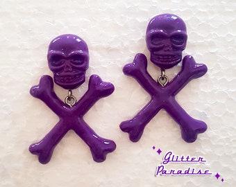 Skull and Crossed Bones - Earrings - Skull - Ghoul - Punk - Rockabilly - Cute & Dead - Punk - Gothic - Dead - Glitter Paradise®