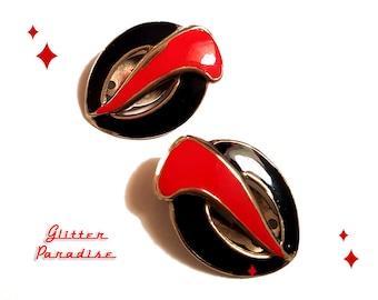 Original Vintage Black & Red Coma - Earrings - Art Deco - Vintage Finds - Original Retro Earrings - 1980's Earrings - Glitter Paradise®