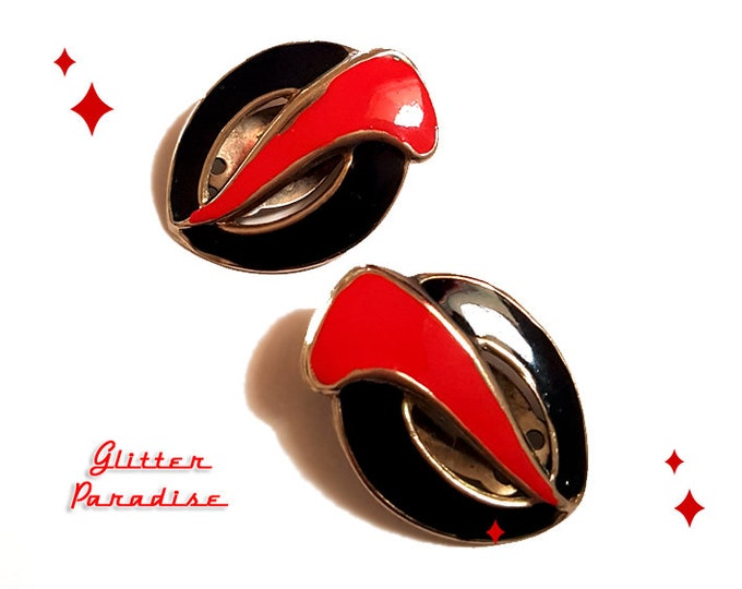 Original Vintage Black & Red Coma - Earrings - Art Deco - Vintage Finds - Original Retro Earrings - 1980's Earrings - Glitter Paradise®