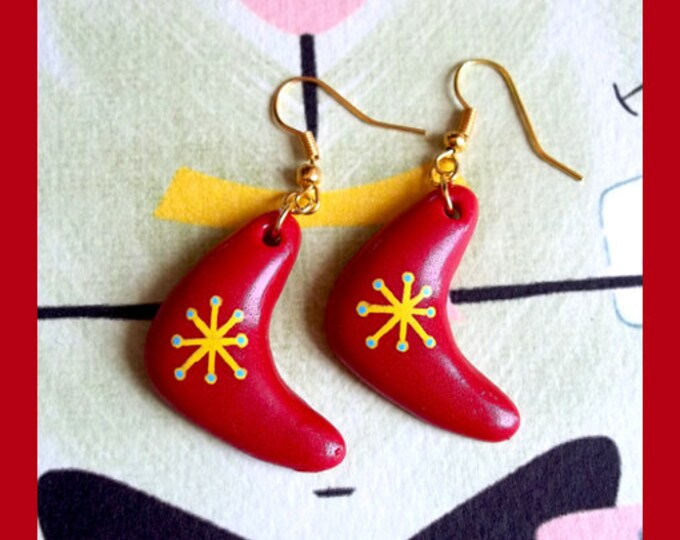 Earrings - Atomic Boomerang Red - Earrings - Mid-Century Modern - 1950s - Retro - Pinup Jewelry - Molecular - Atom - Glitter Paradise®