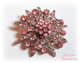 Original Vintage Pink Flower Sunburst - Brooch - Star Brooch - Sun Brooch - 50 - Sunburst Mirror - Starburst - Celestial - Glitter Paradise®