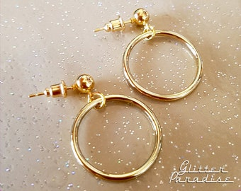 Baby Marilyn Hoops Gold - Earrings - Hoops & Domes - Barbie Hoops - Retro Hoops Earrings - 1950's Retro Hoops Earrings - Glitter Paradise®