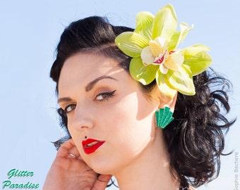 Giant Art-Deco Shell Emerald - Earrings - Glitter Earrings - Lucite - Retro Earrings - 50s - 60s - Mid-Century - Pinup - Glitter Paradise®