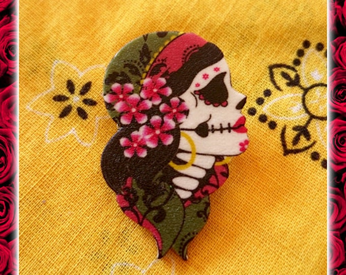 Gypsy Sakura - Brooch - Dia de Los Muertos - Calavera - Day of The Dead - Muerta - Sugar Skull - Mexican Folk - Frida - Glitter Paradise®