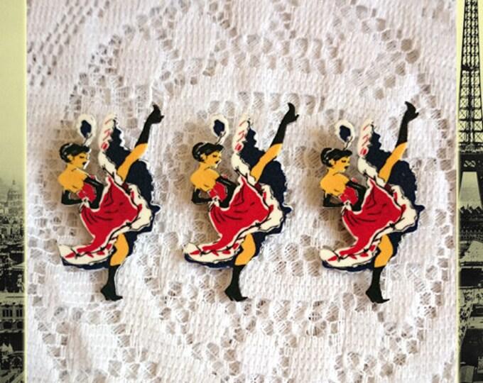 French CanCan - Brooch - Cancan de Paris - Cancan Dancer - Cabaret - Moulin Rouge - Paris - Toulouse-Lautrec - France - Glitter Paradise®