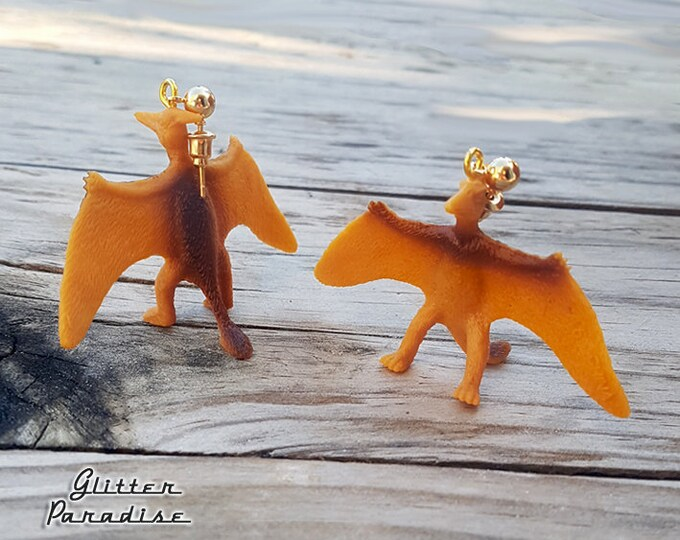Dino Ptero - Earrings - Dinosaur Jewelry - Late Triassic - Wing Lizard - Mesozoic Dino - Early Vertebrate - Glitter Paradise®