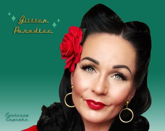 Marilyn Hoops Gold - Earrings - Hoops & Domes - Barbie Hoops - Pinup Hoops - Hoops Earrings - Gold Hoops - Silver Hoops - Glitter Paradise®