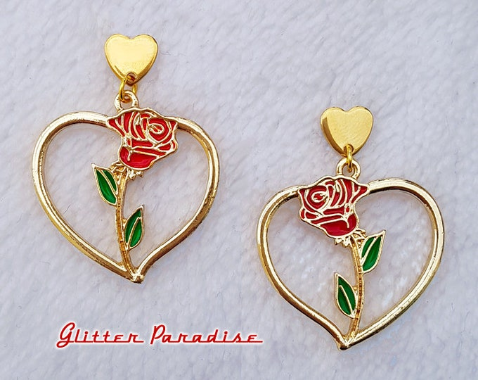 Corazon de Chingona - Earrings - Heart and Rose - Rose Love - Gold Hoops & Rose - Latina Hoops -  Latina Love Jewelry - Glitter Paradise®