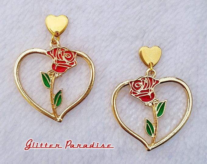 Corazon de Chingona - Earrings - Heart and Rose - Rose Love - Gold Hoops & Rose - Latina Hoops -  Latina Love Jewelry - Glitter Paradise®