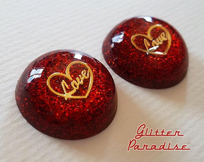 Lucite Dômes Love - Earrings - Heart Earrings - Retro Hearts - Mid-Century Modern Jewelry - Valentine's Gift - True Love - Glitter Paradise®