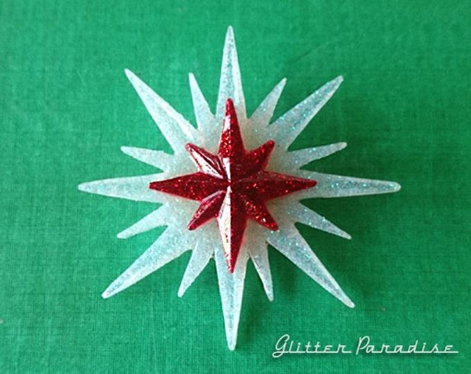 White Christmas Sunburst & Red Starlite - Brooch - Retro Christmas - Vintage Christmas - 24 december - Starlite - 1950 - Glitter Paradise®