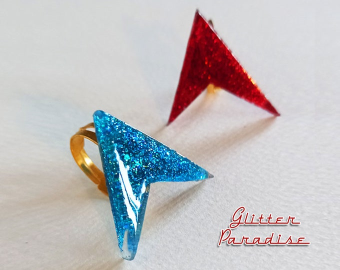 Lucite Sharp Boomerang Dust - Ring - Confetti Lucite - Atomic Boomerang - Mid-Century Modern - 1950 - Vintage Inspired - Glitter Paradise®