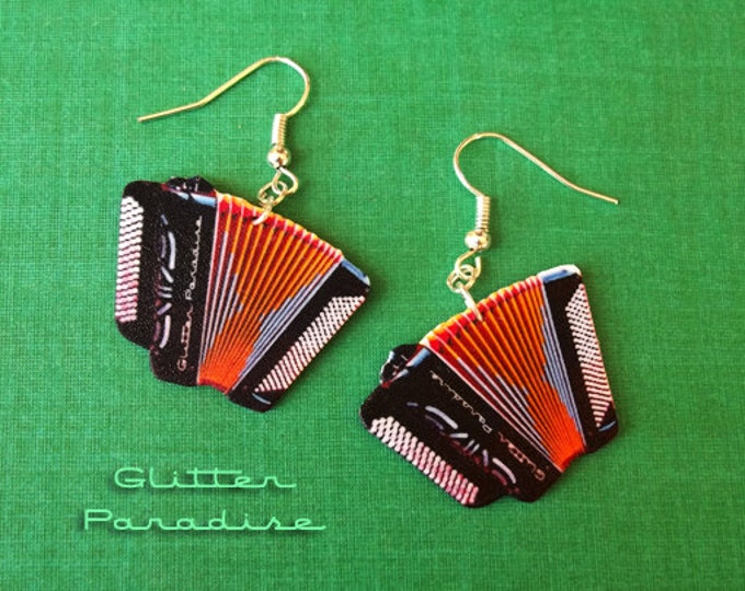 Accordéons - Earrings - Accordions - France - Music - Accordionist - Yvette Horner - Musical Instrument - Bal Musette - Glitter Paradise®