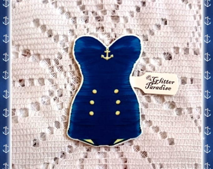 Retro Swimsuit Sailor - Brooch - Hello Sailor - Navy - Anchor - Pinup Sailor - 50s - Summer - Vintage Swimsuit - Pin-up - Glitter Paradise®