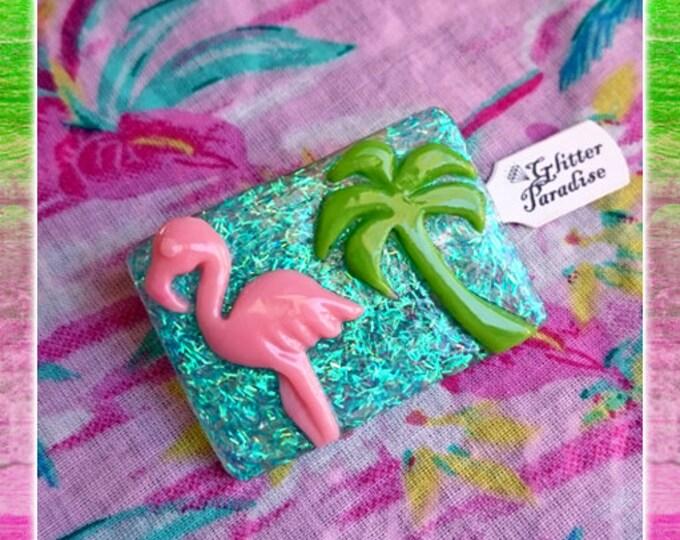 Florida Dream - Brooch - Vintage Replica - Retro - Pink Flamingo - Miami - Confetti Lucite - Mid Century Modern - Retro - Glitter Paradise®
