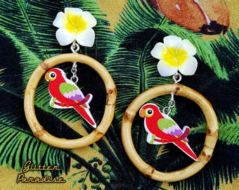Natural Bamboo Rio - Earrings - Bamboo Hoops & Parrots - Vintage Exotica - Parrots Jewelry - Bamboo Earrings - Tropical - Glitter Paradise®