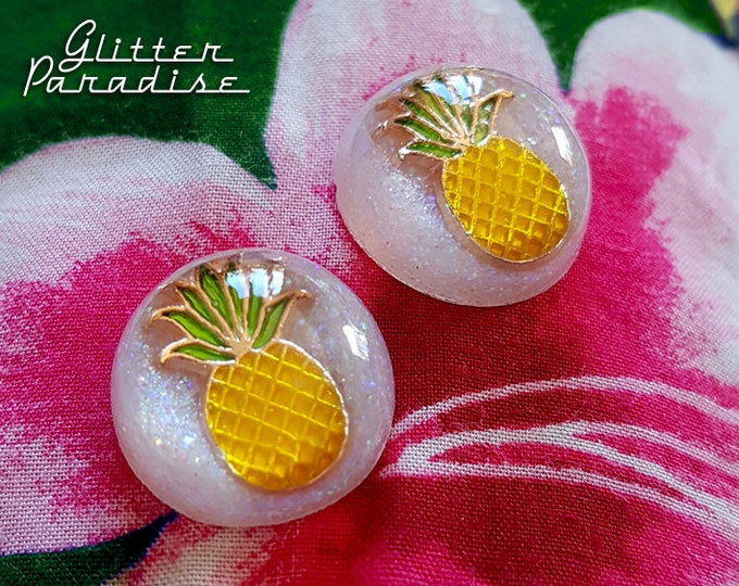 Pineapple Dômes - Earrings - Pineapple - Hawaii - Tropical Jewelry - Fruit - Piña colada - Pineapple Earrings - Lucite - Glitter Paradise®