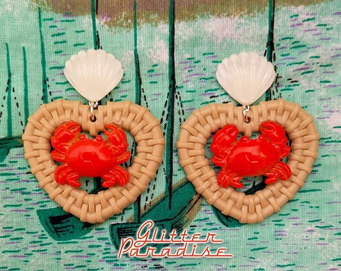 Rattan Love Crab - Earrings - Rattan Raffia Jewelry - Heart Earrings - Sea Summer Earrings - 50s Crab & Lobster Earrings - Glitter Paradise®