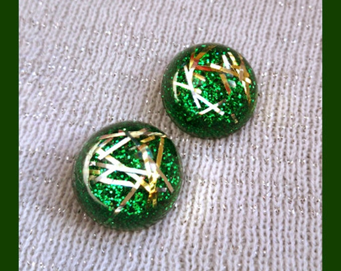 Confetti Lucite Green & Gold Strips - Earrings - Confetti Lucite - Glitter Dômes - Retro Earrings - 50s - Pin-up Jewelry - Glitter Paradise®