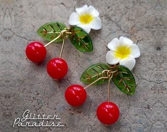 Hawaiian Cherries - Earrings - Tropical - Carmen Miranda - Plumeria Jewelry - Vintage Exotica - Tutti Frutti - Retro 50s - Glitter Paradise®