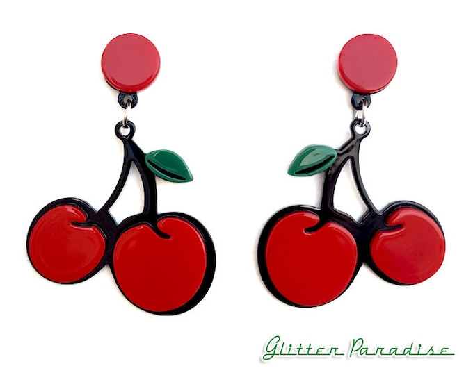 Pop Art Cherries - Earrings - Cherry - Sweet Cherries - Pinup - Retro - Rockabilly - Cherry Jewelry - Pin-up Jewelry - Glitter Paradise®
