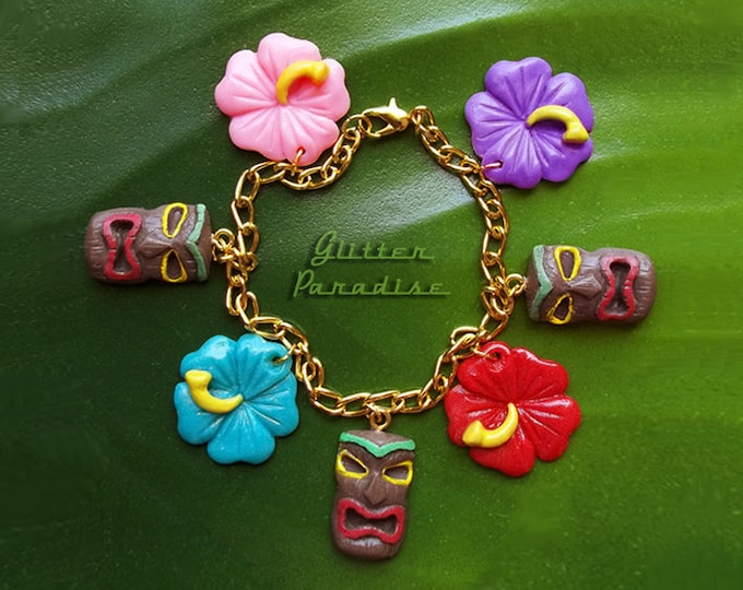 Tiki & Hibiscus - Bracelet - Tiki Jewelry - Tiki Oasis - Hula Girl - Vintage Exotica - Hawaii Jewelry Tropical - Wahine - Glitter Paradise®