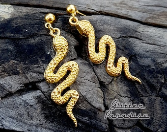 Gold Slider Snake - Earrings - Snake Priestess -  Magic - Wicca - Witchcraft - Salem Witch - Neo-paganism - Witchery - Glitter Paradise®