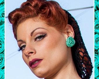 Vintage Rose Aqua - Earrings - Roses - Flowers - Nature - Rose Earrings - Retro - Roses Earrings - Romantic - Floral - Glitter Paradise®