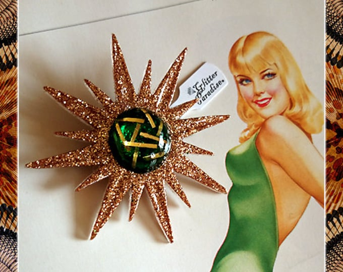 Mid-Century Modern Sunburst Gold and Green - Brooch - Star Brooch - Sun Brooch - 1950 - Sunburst Mirror - Starburst - Glitter Paradise®