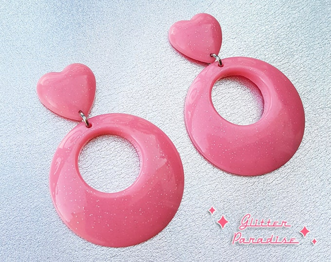 Hoops & Heart Glitter - Earrings - 1950s Jewelry - Retro Heart Hoops - Marilyn Hoops - Vintage Inspired - Valentine's - Glitter Paradise®