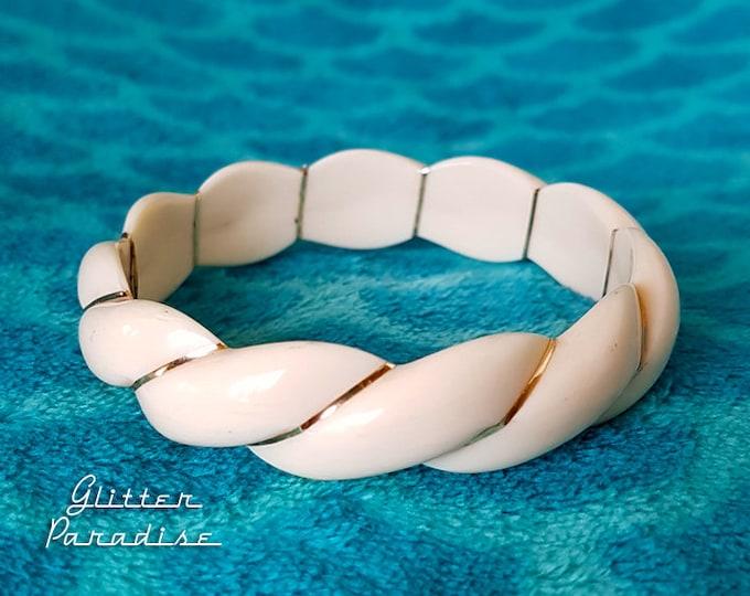 Original Vintage Faux Ivory - Bangle - Retro Ivory Style Bracelet - 1950s Jewelry - Vintage Finds - Authentic Vintage - Glitter Paradise®