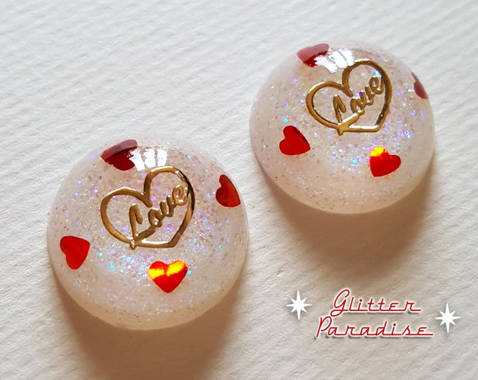 Lucite Dômes Love Hearts - Earrings - Heart Earrings - Retro Hearts - Mid-Century Jewelry - Valentine's Gift - True Love - Glitter Paradise®