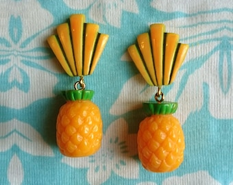 Art-Deco Shell & Pineapple - Earrings - Pineapple - Art-Deco Jewelry - Hawaii - Tropical Jewelry - Fruit - Piña colada - Glitter Paradise®