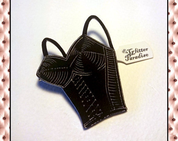 Bettie's Bullet Bra Black - Brooch - Retro Lingerie - Vintage Lingerie - Vintage Sleaze - 1950's Lingerie - Bettie Page - Glitter Paradise®