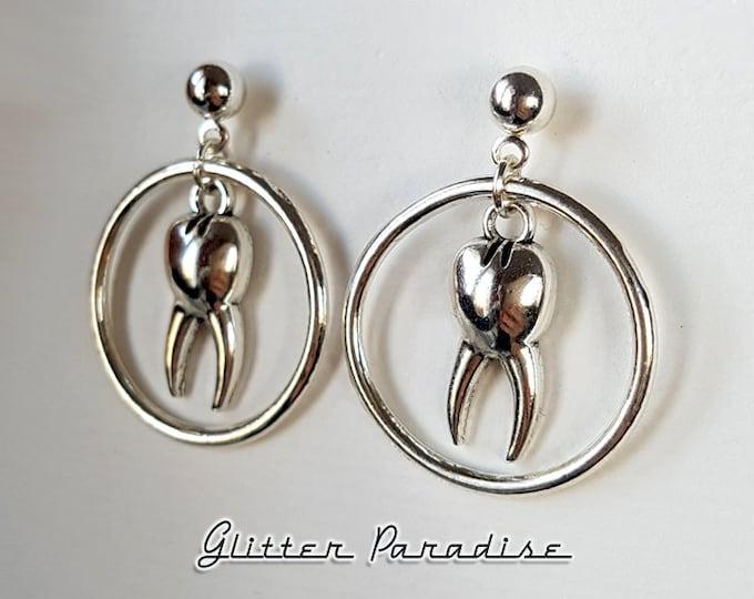 Baby Hoops Men's Teeth - Earrings - Retro Halloween - Gore Jewelry - 50s Horror Jewelry - Teeth Earrings - Tooth Jewelry - Glitter Paradise®