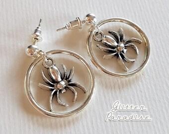 Baby Hoops Spiders - Earrings - Retro Halloween - Gothic Chic Earrings - Spider Earrings - 50s Halloween - Ghoul Jewelry - Glitter Paradise®