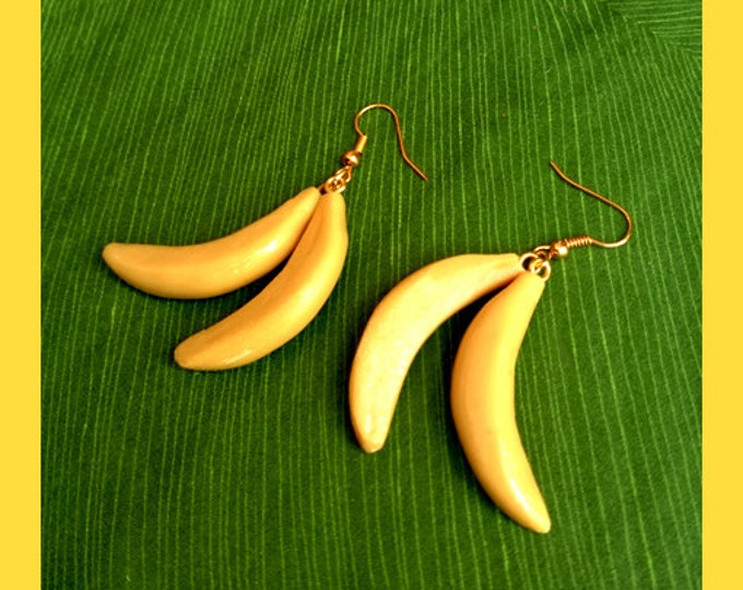 Bananas - Earrings - Fruits - Tropical - Carmen Miranda - Josephine Baker - Vintage Exotica - Tutti Frutti - 50s - Retro - Glitter Paradise®