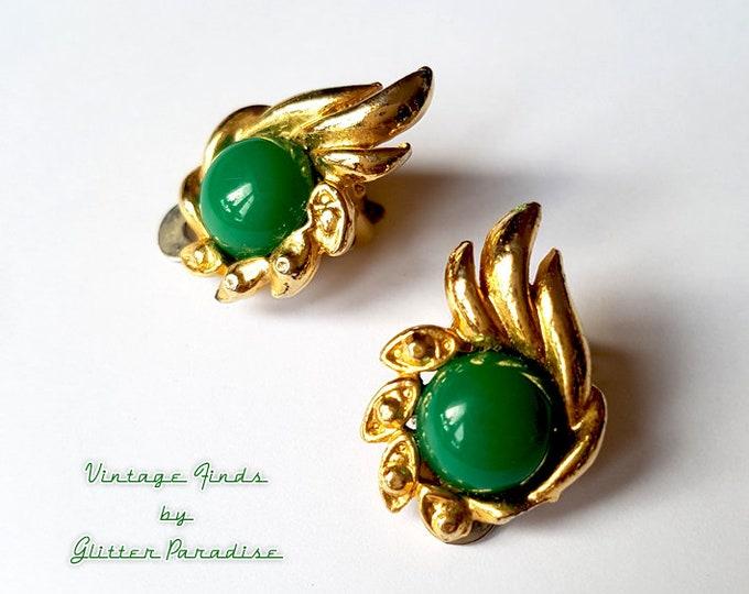 Original Vintage 1950's Green Hermes - Earrings - Art Deco - Vintage Finds - Original Retro Earrings - 1950's Earrings - Glitter Paradise®
