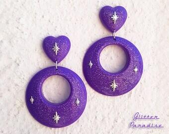 Hoops & Heart Deluxe - Earrings - 1950s Jewelry - Retro Heart Hoops - Vintage Inspired - Valentine's Love Earrrings - Glitter Paradise®