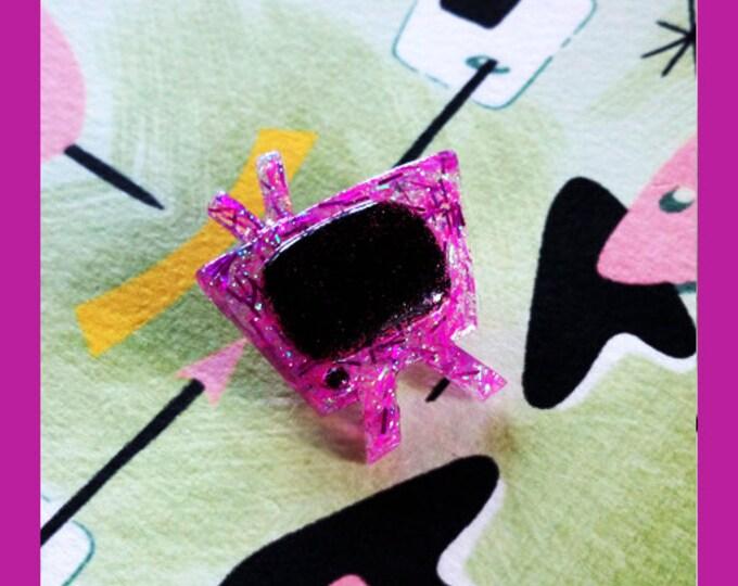 Confetti Lucite Retro TV Pink - Brooch - TV Brooch - Retro Television - Motel TV - 1950s - Glitter - Mid-Century Modern - Glitter Paradise®