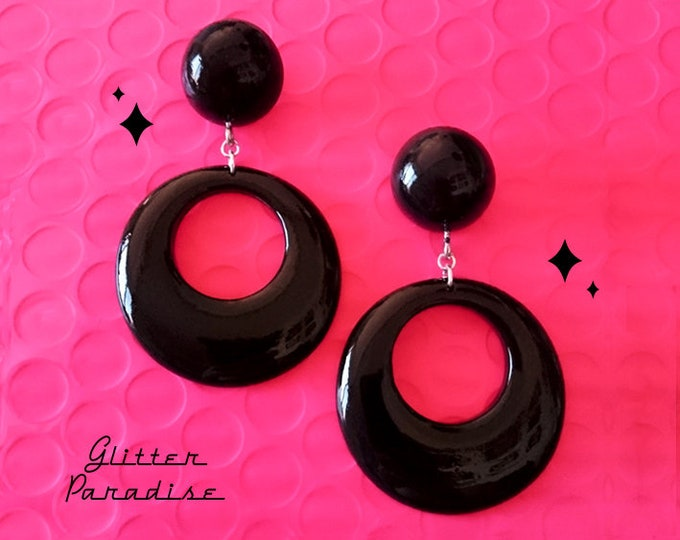 Hoops & Dômes - Earrings - Retro Hoop - 1950s Jewelry - Retro Fakelite Hoops - Marilyn Hoops - Vintage Inspired - Pin-Up - Glitter Paradise®