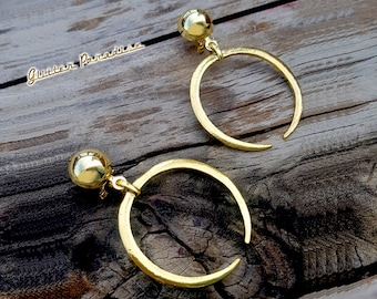 Gold Moon Hoops - Earrings - Moon& Domes - Witch Hoops - Crescent Moon Earrings - Old Wicca Moon - 1950s - Wicca Jewelry - Glitter Paradise®