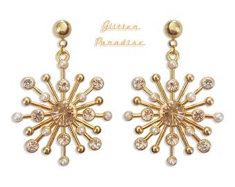 Pearls & Strass Sunburst - Earrings - Stars - Mid-Century Modern - Vintage Inspired - 50s - 60s - Starburst - Franciscan - Glitter Paradise®