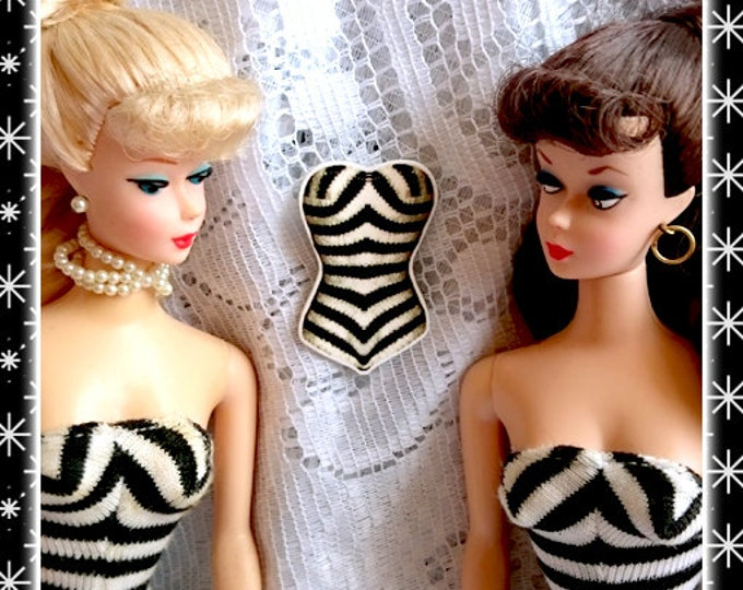 Barbie 59's Zebra Swimsuit - Brooch - First Barbie - Barbie Ponytail - Retro - Vintage Barbie - Barbie 1959 - Novelty - Glitter Paradise®