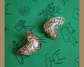 Confetti Lucite Atomic Boomerang Light Gold - Earrings - Atomic Boomerang - Mid-Century Modern - 50s - Vintage Inspired - Glitter Paradise®