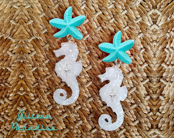 Atomic Seahorse & Starfish - Earrings - Under the Sea - Sea - Ocean Lover - Mermaid Jewelry - Beach - Seahorse Brooch - Glitter Paradise®