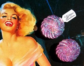 Twisted Dômes Plankton - Earrings - Confetti Lucite - Glitter Earrings - Retro Jewelry - Glitter - Retro - Pinup - 50s - Glitter Paradise®