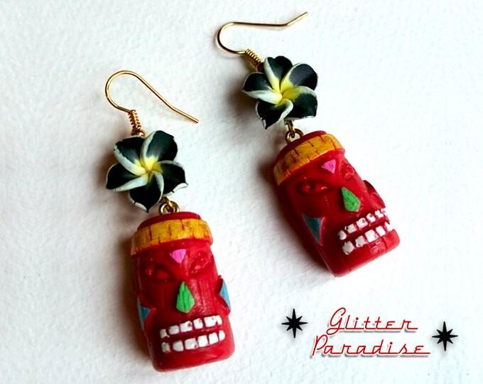 Tiki Rainbow & Plumeria  - Earrings - Tiki Jewelry - Aloha - Tiki Oasis - Hula Girl - Vintage Exotica - Totem - Tropical - Glitter Paradise®